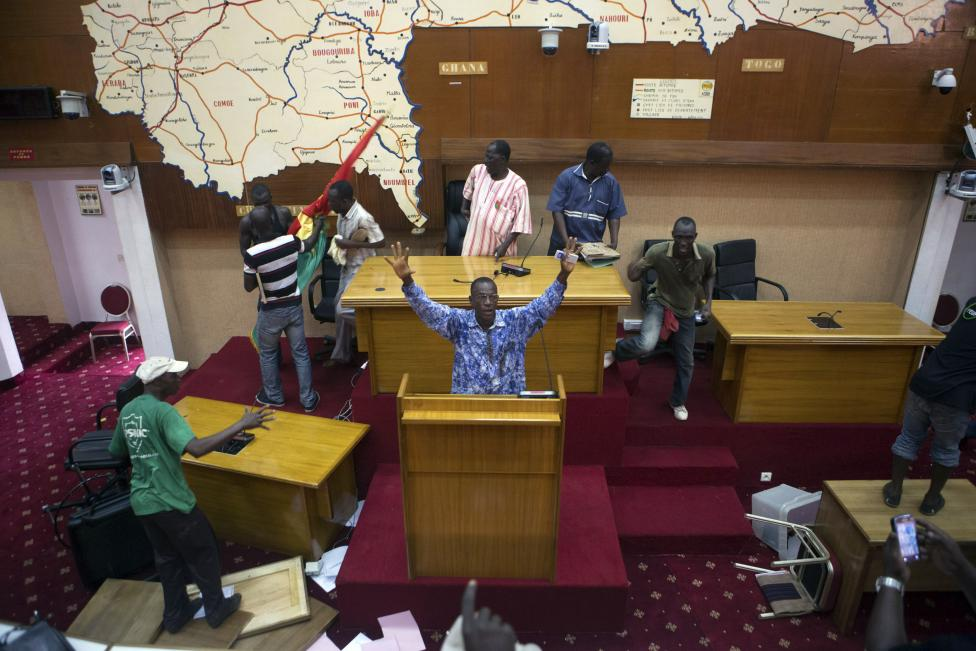 Anti-government protesters take over the parliament building in Ouagadougou