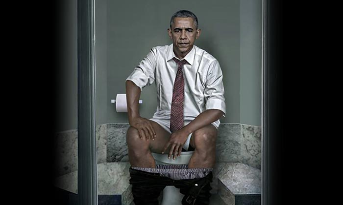 world leaders, barack obama, angela merkel, duty, toilet, artist show, daily basis, papha, usa, russian, putin, germany, united kingdom,
