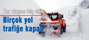 Yoğun kar yağışı ulaşımı durdurdu!