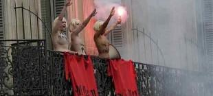 Feminist grup Femen'den sağcı lider Marine Le Pen'e Nazi selamı
