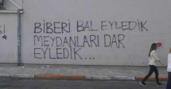 Gezi Parkı eylemlerinden kalan duvar yazıları: