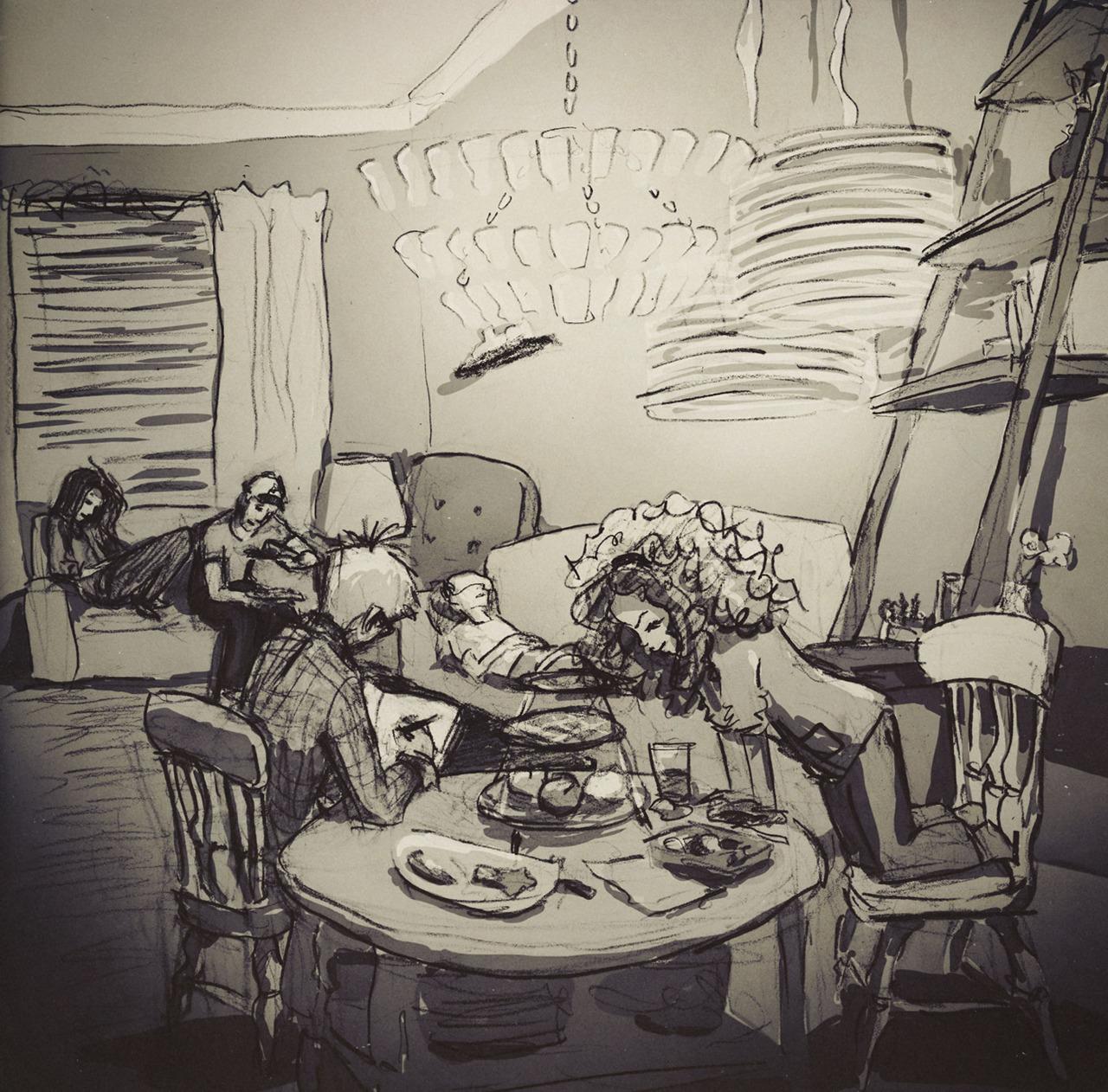 Kardeşlerinin akşam faaliyetleri, Sculpey kil, akşam yemeği ve grip.