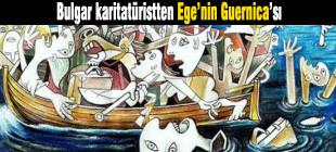 Bulgar karitatürist Jovcho Savov Ege'nin Guernica'sını çizdi