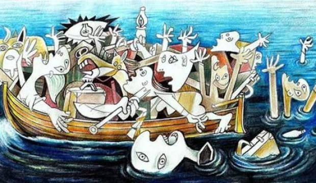 Bulgar karikatürist Jovcho Savov'un Picasso'dan esinlenerek meydana getirdiği çizim