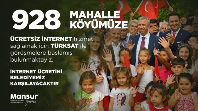 Ankara Büyükşehir Belediyesi 928 köye ücretsiz internet sağlayacak